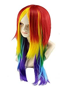 27.56'' Long Straight Rainbow Wig Multi Color Cosplay Wig For Women