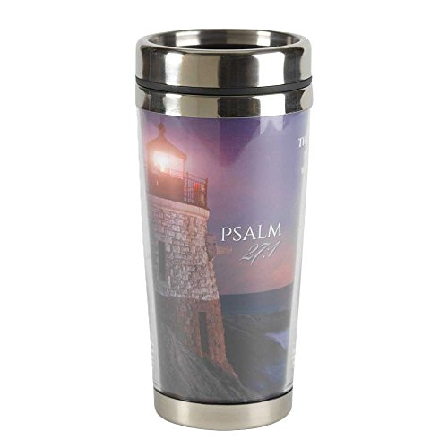 The Lord Is Light Sunset Lighthouse 16 Ounce Stainless Steel Travel Coffee Mug