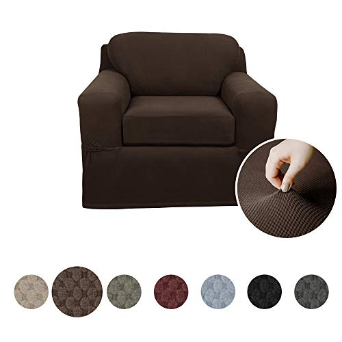 - MAYTEX Pixel Ultra Soft Stretch 2 Piece Arm Chair Furniture Cover Slipcover, Chocolate Brown