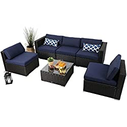 PHI VILLA Outdoor Rattan Sectional Sofa- Patio Wicker Furniture Set (6-Piece 2, Blue)
