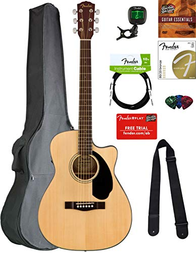 Fender CC-60SCE Concert Acoustic-Electric Guitar - Natural Bundle with Gig Bag, Tuner, Strap, Strings, Picks, Austin Bazaar Instructional DVD, and Polishing Cloth