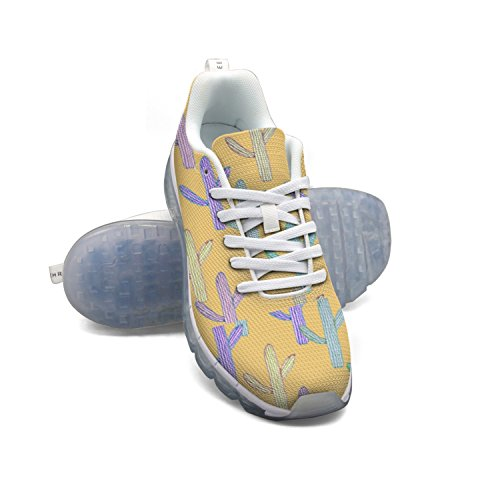Faaerd Sød Kaktus Gul-01 Kvinders Åndbar Mesh Walking Sneakers Luft Pude Sportssko Åndbar Atletisk Løbesko hbYTKEd5lD
