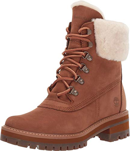 Timberland Women's Courmayeur Valley WP 6in with Shearling, Medium Brown Nubuck, 9 M US