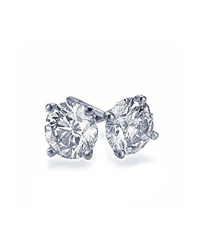 Si2 Natural (2.00 carat Real Natural TIG Certified F-G/SI2-I1 Round Diamond Stud Earrings - 14k White Gold Diamond Stud Earrings for Women)
