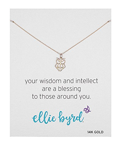 Gold Owl 14k Yellow (ellie byrd 14k Yellow Gold Owl Pendant Necklace, 16