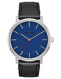 Nixon Men's 'Porter Leather' Quartz Stainless Steel Casual Watch, Color:Black (Model: A10581647)