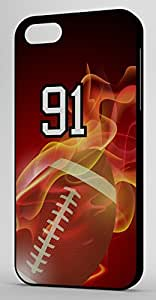 Flaming Football Sports Fan Player Number 91 Black Rubber Decorative iphone 4s Case