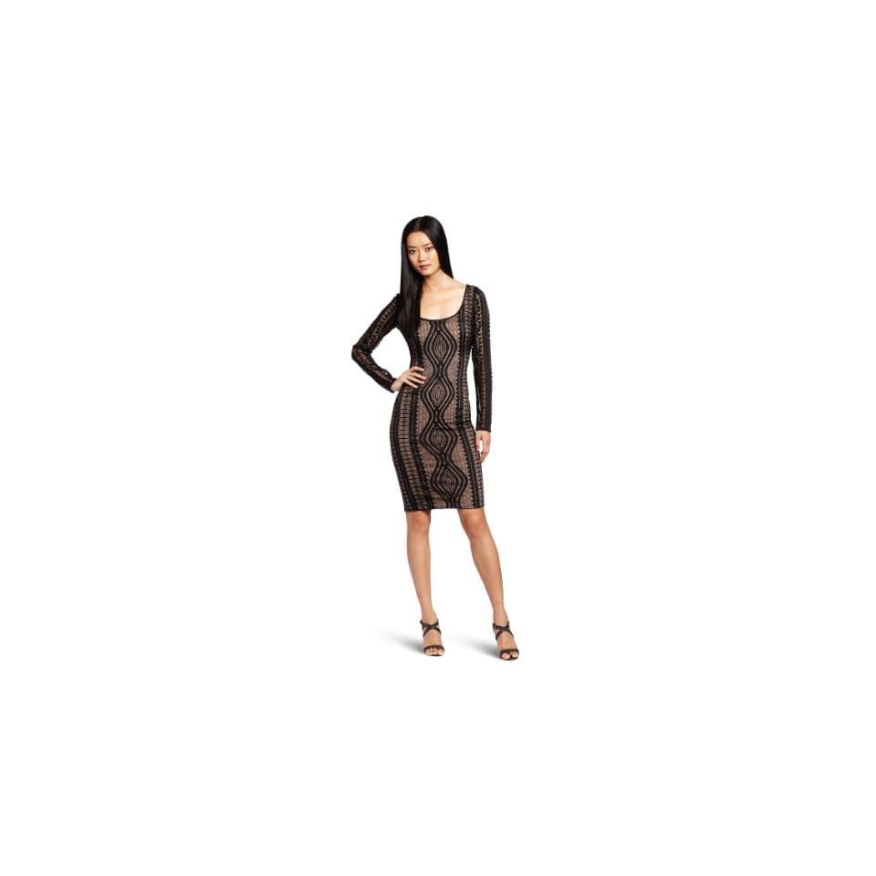 BCBGMAXAZRIA Womens Tanya Lace Round Neck Dress