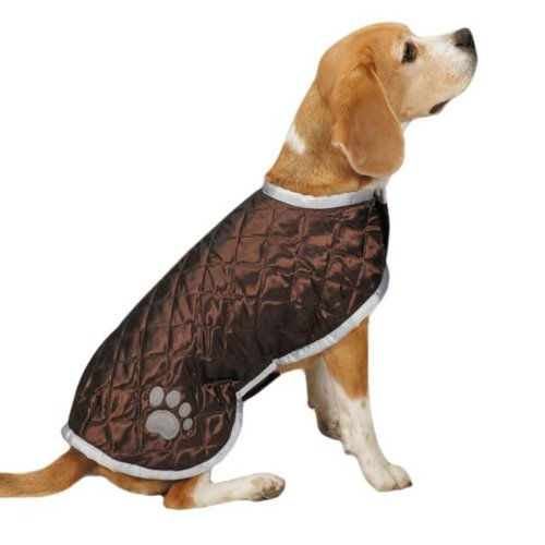 Casual Canine Quilted Nor'easter Coat for Dogs, 10'' XS, Brown by Casual Canine