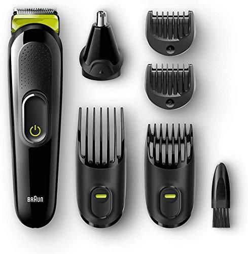 Braun 6 en 1 Recortadora todo en uno MGK3021, Maquina recortadora barba y cortapelos, recortador vello de nariz y orejas, cuchilla larga duracion, color negro/verde