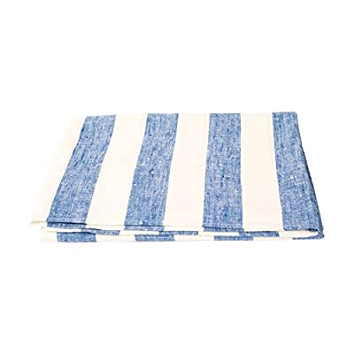 "LinenMe 0154802 Philippe Bath Towel, Off White/Blue, 26"" x 51"" - This classic linen towel of wide blue stripes design would make a great addition to any bathroom. The towel is made from 100Percent linen of huckaback weaving. Plain seam around, prewashed for extra softness, special loop for convenient hanging Color: blue, made from 100Percent European linen, available in 5 colors Size: 26X 51"", bath towel has a loop - bathroom-linens, bathroom, bath-towels - 411UUTzHgcL. SS400  -"