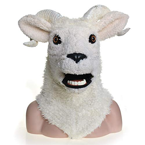 WANDAELITE Fashion Innovative Cosplay Carnival Costume Lamb Sheep Masquerade Full Head Animal Mask For Halloween Carnival Party Realistic image Animal Mask Party accessories dress up game Simulated an