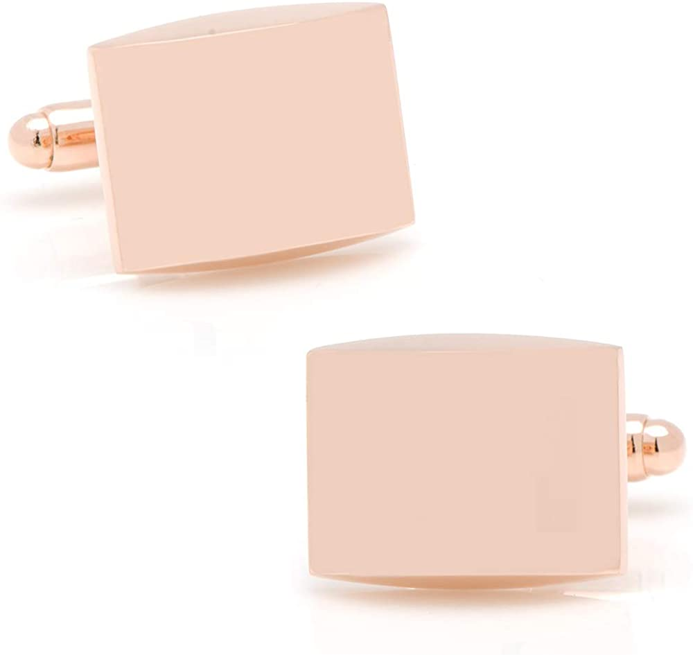Ox and Bull Stainless Steel Curved Rose Gold-Tone Engravable Cufflinks