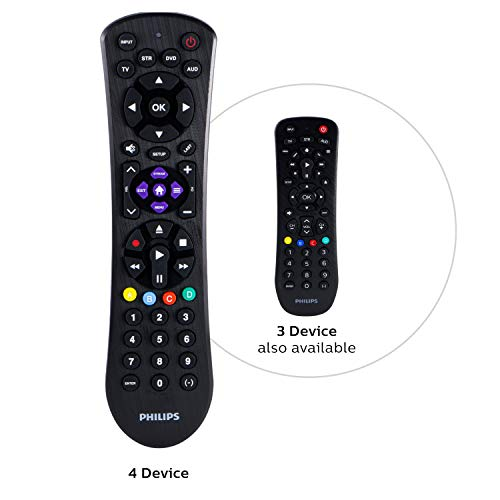 Philips Universal Remote Control for Samsung, Vizio, LG, Sony, Sharp, Roku, Apple TV, RCA, Panasonic, Smart TVs, Streaming Players, Blu-ray, DVD, Simple Setup, 4-Device, Black, SRP9243B/27