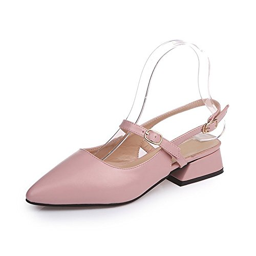 OCHENTA Woman Pointed Toe Square Low Heel Platform Slingbacks Wedding Shoes Pink 1SHiIO
