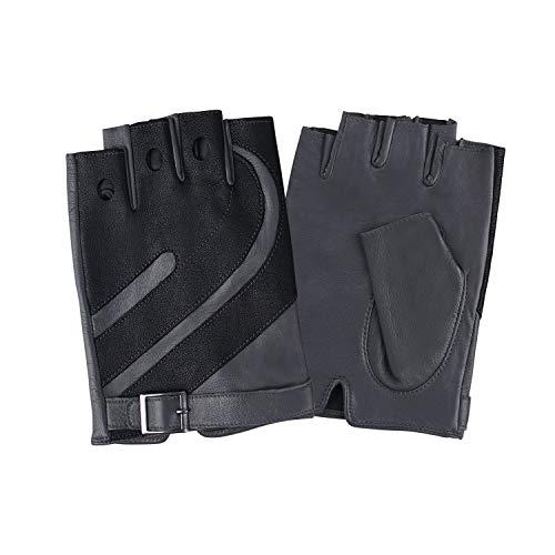 Fioretto Mens Driving Leather Gloves Harley Fingerless Gloves Italian Genuine Goatskin Leather Half Finger Gloves Unlined for Spring or Summer Gray 9.5 ()