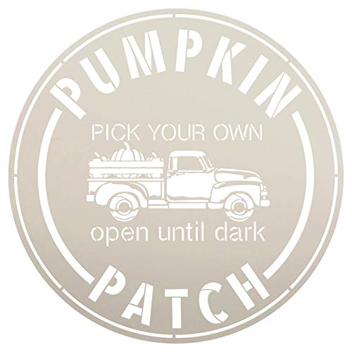 Pumpkin Patch Pick Your Own-Truck Stencil by StudioR12 | Wood Signs | Word Art Reusable | Fall | Painting Chalk Mixed Media Multi-Media | Use for Journaling, DIY Home - Choose Size (12