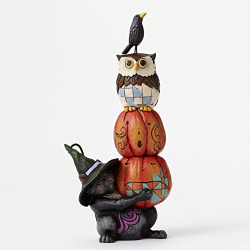 Jim Shore for Enesco Heartwood Creek Cat with Stacked Pumpkins Figurine, -