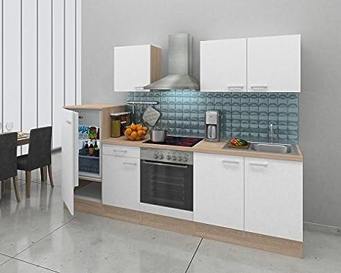 respekta Einbau Küche Küchenzeile Küchenblock 270 cm Eiche Natura ...
