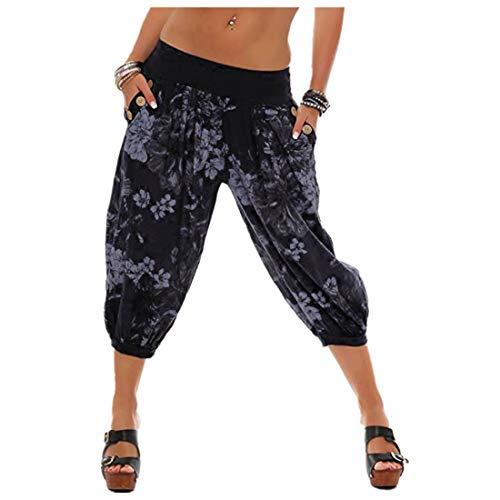 vermers Women Fashion Print Threaded Pants - Women Casual Loose Bandwidth Wide-Leg Pants Trousers(M, Black)
