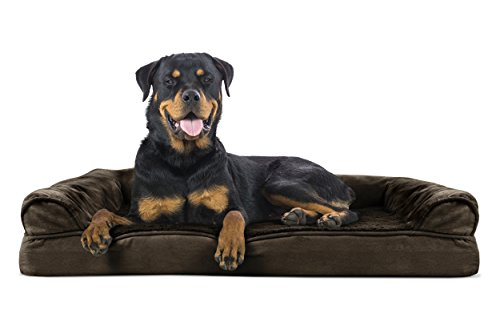 FurHaven Pet Dog Bed | Orthopedic Ultra Plush Sofa-Style Couch Pet Bed for Dogs & Cats, Espresso, Jumbo