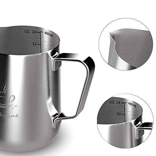 Milk Frothing Pitcher - Stainless Steel Measurement Inside the frothing Cup with Latt Art Pen by Fly Skyline (Image #3)