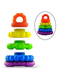 Stackable Teether Toys- Unisex Stackers for Teething Baby Girls, Boys, and Toddler - Premium Food Grade Silicone Rings- Textured Sensory Shapes BOBEBE Online Baby Store From New York to Miami and Los Angeles