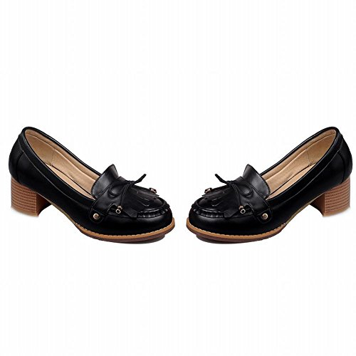 Show Shine Womens Fashion Bows Nappe Mid Chunky Heel Shoes Nero