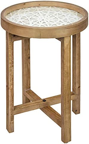 American Art Decor Round Wooden Side, Accent, End Table with Rice Paper Table Top 24 x 16