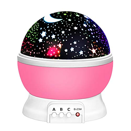 Toys for 2-12 Year Old Boys, Our day Night Light Moon Star Projector Best Easter Gifts for Kids 2-12 Year Old Girls Gifts New Toys 2019 for Girls Boys Pink ODUSXK09 ()