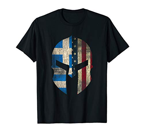 Greek American Pride - Greece Spartan Helmet T-shirt]()