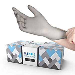 Hand-E Touch Disposable Grey Nitrile Gloves Large -200 Count, Powder Free, Latex Free