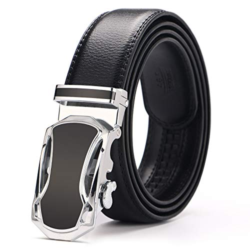 Fashion Black Genuine Leather Belts Waistband Automatic Buckle Waist Strap