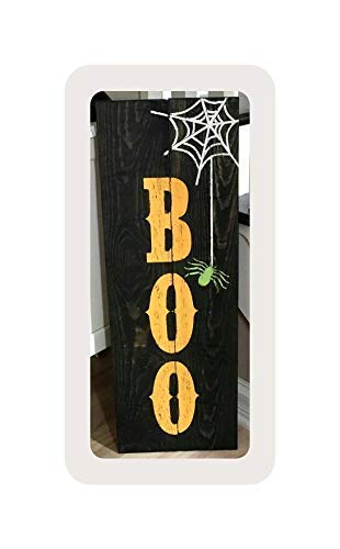 bawansign Home Decorative Wood Sign Wooden Boo Tall Fall Reclaimed Rustic Autumn Halloween Spider Scary Plaque with Sayings Cabin Decor ()