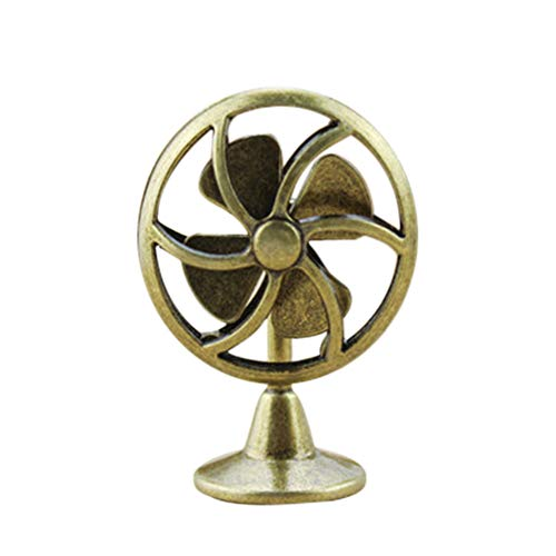 NszzJixo9 1/12 Miniature Scene Model, Dollhouse Accessories-Mini Old Fashioned Lobby Fan Gift Toy Gift Fake Exquisite Living Room Kids Pretend Play Toy Decoration (Gold)