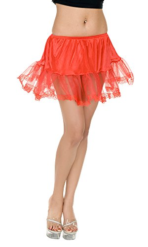 Charades Women's Lace Edge Costume Petticoat, Red, One Size