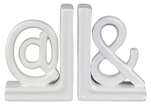Urban Trends Ceramic Alphabet Sculpture@ and Bookend SM Assortment of Two Gloss Finish, Small, White Urban Trends Collection 11235-AST