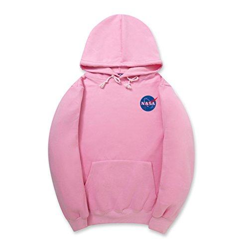 Embroidered Two Pocket Sweatshirt - CORIRESHA Fashion NASA Logo Print Hoodie Sweatshirt with Pocket(smaller than standard size)