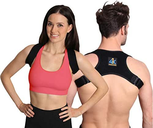 41Kicks Posture Fixer Corrector for Women and Men | Back Brace, Shoulder Support, Lumbar and Spine Trainer | Muscle Pain Relief, Sit Upright, Stand Tall, Anti-Slouching | Adjustable