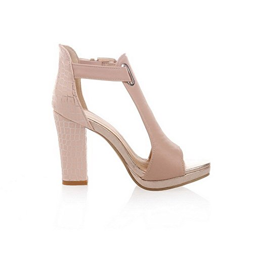 AllhqFashion Women's High Heels Soft Material Solid Buckle Open Toe Sandals Pink GOSdIBlC