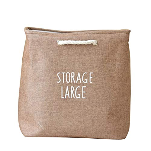 Collapsible Cotton Linen Storage Box for Dirty Clothes Toys Large Laundry Bag with Strong Handles Home Storage Organizer,A3