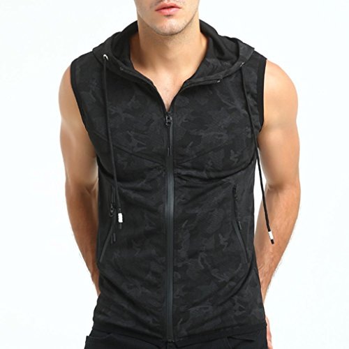 Plus Size!Men Summer Hooded Shirt Top,Todaies Men Casual Hooded Vest Camouflage Travel Tops Sleeveless Jacket Blouse 2018 (XL, Black) (Sleeveless Jersey Print Screen)