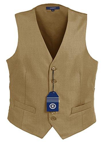 Gioberti Mens 5 Button Formal Suit Vest, Khaki, Large by Gioberti
