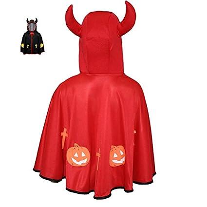 Pegasus Srl Mantello Mantellina Halloween Bambino Bambina - Diavoletto Rosso 46ab6713692