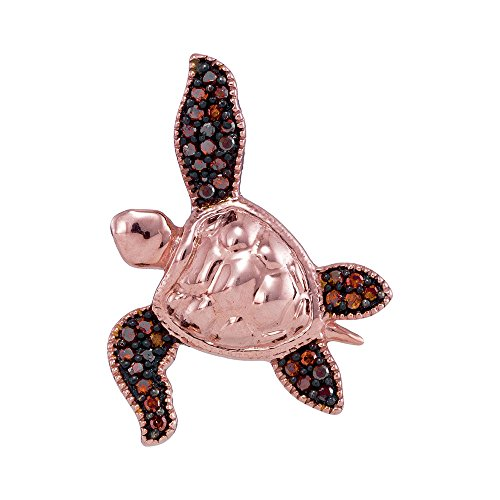 Roy Rose Jewelry 10K Rose Gold Ladies Red Colored Diamond Sea Turtle Tortoise Pendant 1/10 Carat tw