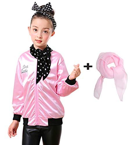 Child Pink Ladies Jacket Polka Dot Scarf (M, -