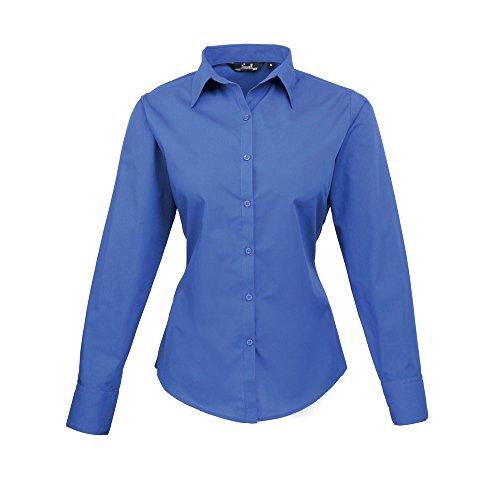 Premier para mujer Popelina blusa de manga larga azul cobalto
