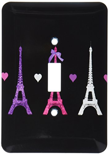 (3dRose LLC lsp_113151_1 Girly Eiffel Tower Hot Pink Purple Black Paris Towers Love Hearts Stylish French Modern France Single Toggle Switch)