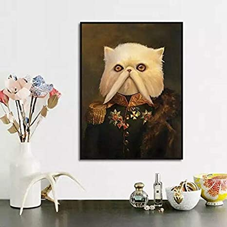Decoración de la Sala de Estilo Vintage Gato Blanco con Barba ...