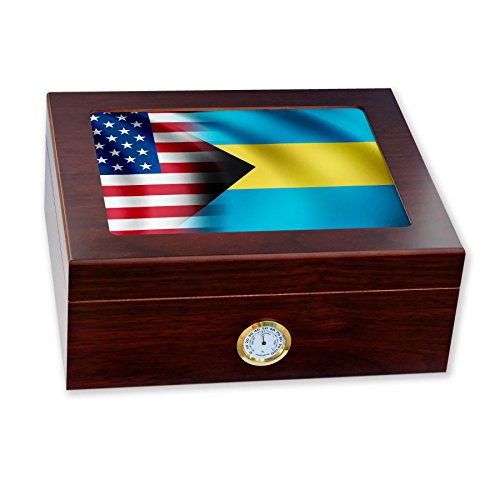 Premium Desktop Humidor - Glass Top - Flag of Bahamas (Ba...